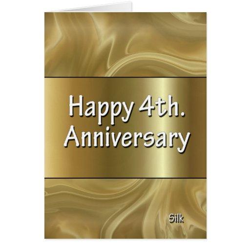 Happy 4th Wedding Anniversary Silk Cards
