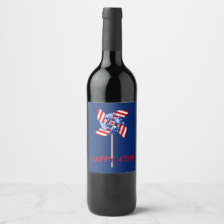 Happy 4th! Wine, Beer or Water Bottle | Patriotic Wine Label
