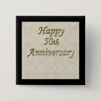 Happy 50th Anniversary 2 Inch Square Button