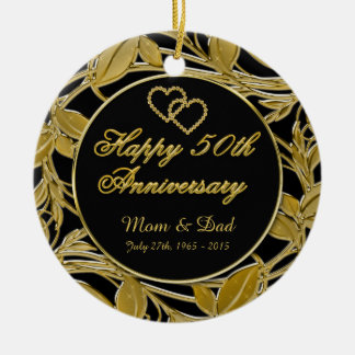 Happy 50th Anniversary Golden Leaves DBL Sided Round Ceramic Ornament