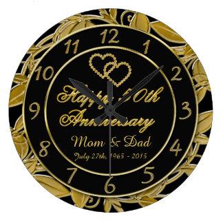 Happy 50th Anniversary Metallic Gold Leaf Numbers Clocks