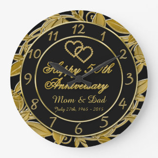 Happy 50th Anniversary Metallic Gold Leaf Numbers Large Clock