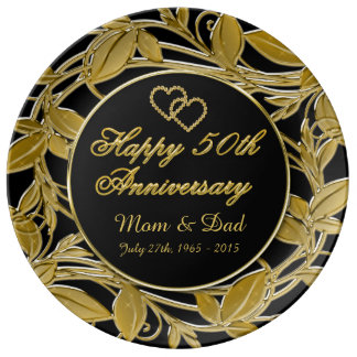 Happy 50th Anniversary Metallic Golden Leaves Plate