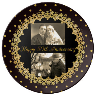 Happy 50th Anniversary Personalized Decorative Porcelain Plate