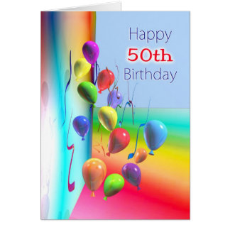Happy 50th Birthday Balloon Wall Card