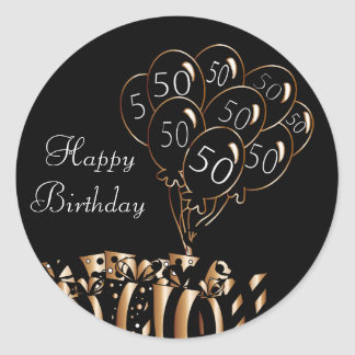 Happy 50th Birthday | Black Balloons Round Sticker