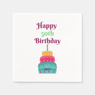 Happy 50th Birthday Cake Napkins Paper Napkins