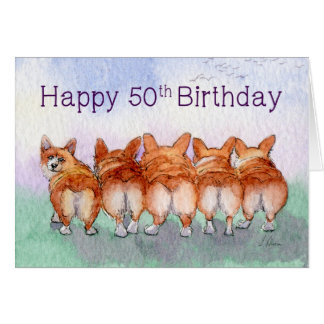 Happy 50th Birthday, corgi dogs birthday card