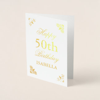 Happy 50th Birthday Elegant Foil Card
