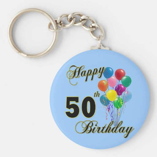 Happy 50th Birthday Gifts and Birthday Apparel Key Chains