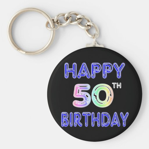 Happy 50th Birthday Gifts and Birthday Apparel Keychains