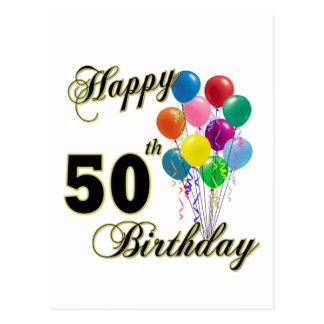 Happy 50th Birthday Gifts and Birthday Apparel Postcard