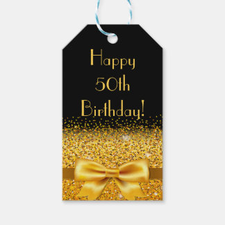 Happy 50th Birthday on black with gold bow sparkle Pack Of Gift Tags