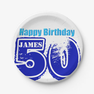Happy 50th Birthday Personalized Paper Plates 7 Inch Paper Plate