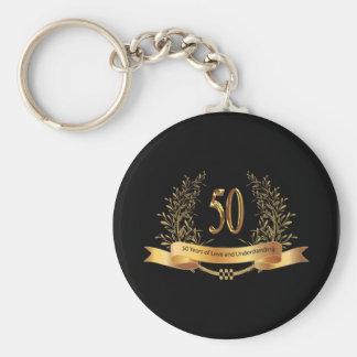Happy 50th Wedding Anniversary Gifts Basic Round Button Keychain