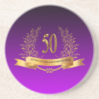 Happy 50th Wedding Anniversary Gifts Beverage Coasters