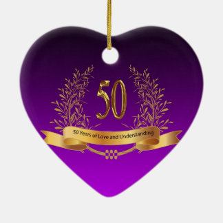 Happy 50th Wedding Anniversary Gifts Ceramic Heart Ornament