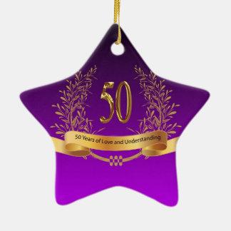 Happy 50th Wedding Anniversary Gifts Ceramic Star Ornament