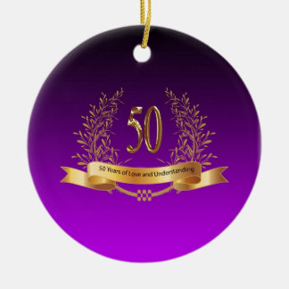 Happy 50th Wedding Anniversary Gifts Round Ceramic Ornament