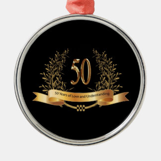 Happy 50th Wedding Anniversary Gifts Silver-Colored Round Ornament