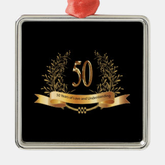 Happy 50th Wedding Anniversary Gifts Silver-Colored Square Ornament