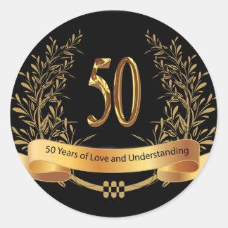 Happy 50th Wedding Anniversary Greeting Cards Classic Round Sticker