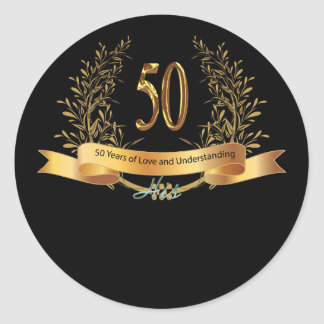 Happy 50th Wedding Anniversary Greeting Carts Classic Round Sticker