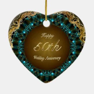 Happy 50th Wedding Anniversary Multi Gifts Ceramic Heart Ornament
