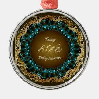 Happy 50th Wedding Anniversary Multi Gifts Silver-Colored Round Ornament