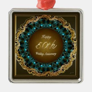 Happy 50th Wedding Anniversary Multi Gifts Silver-Colored Square Ornament