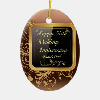 Happy 50th Wedding Anniversary Multi products sele Ceramic Oval Ornament