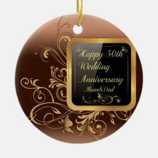Happy 50th Wedding Anniversary Multi products sele Round Ceramic Ornament