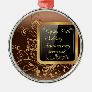Happy 50th Wedding Anniversary Multi products sele Silver-Colored Round Ornament