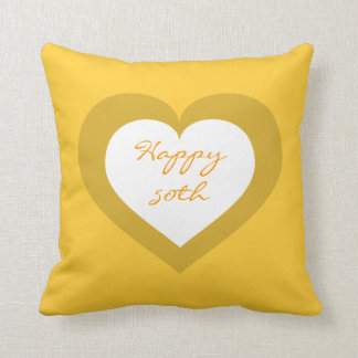 Happy 50th white and gold heart throw pillow