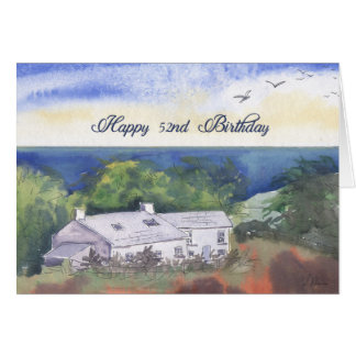 Happy 52nd Birthday card, Pembrokeshire farmhouse Card