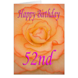 Happy 52nd Birthday Flower Card