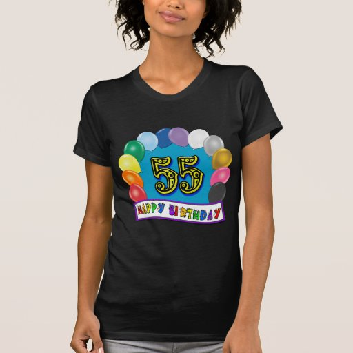 Happy 55th Birthday Balloon Arch Tees