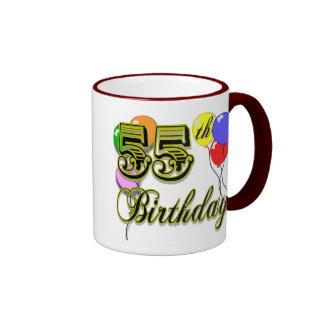 Happy 55th Birthday Celebration Ringer Coffee Mug