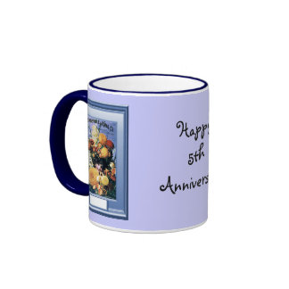 Happy 5th Anniversary, Floral displays Ringer Coffee Mug