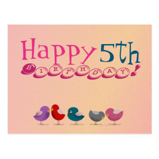 Happy 5th Birthday Birds Cartoon Cute Colorful Postcard