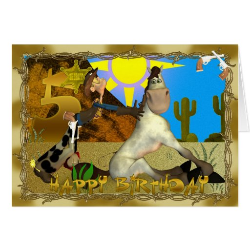 Happy 5th Birthday Cowboy card