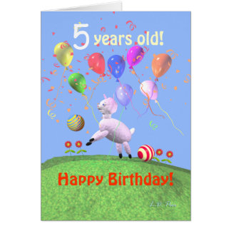 Happy 5th Birthday Lamb and Balloons Card