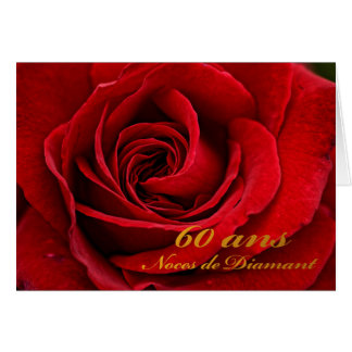 Happy 60th Anniversary in French, Red Rose Upclose Card