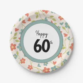 Happy 60th Birthday Floral Patterned Paper Plates