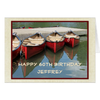 Happy 60th Birthday Greeting Card, Red Canoes Card