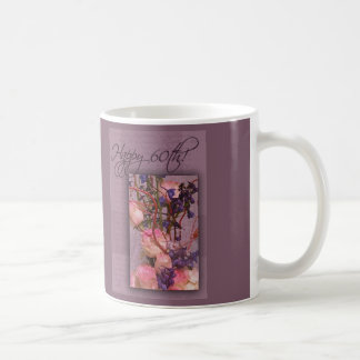 Happy 60th Birthday in pink and purple Mugs