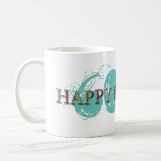 Happy 60th Birthday letters in relief women mug