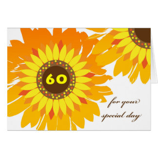 Happy 60th Birthday, Sunflowers Design Card