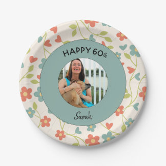 Happy 60th Personalized Birthday Floral Plates