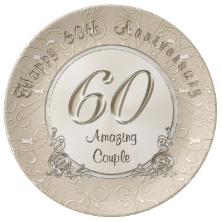 Happy 60th Wedding Anniversary Gifts CUSTOMIZABLE Plate